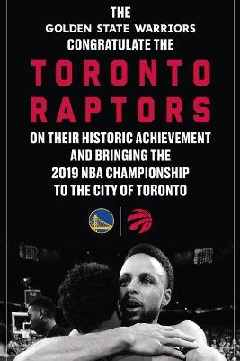 토론토 랩터스의 우승을 축하하는 골든스테이트 워리어스의 광고. /사진=ESPN 트위터 캡처