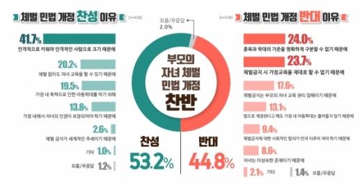 '부모의 자녀체벌 금지' 민법개정에 경기도민 53% 찬성
