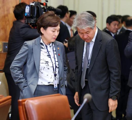 김현미(왼쪽) 국토부 장관과 김수현 전 청와대 정책실장. /사진=뉴시스 전신 기자
