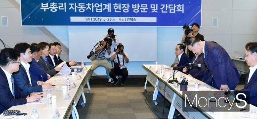 [머니S포토] 자동차업계 CEO그룹 만난 홍남기 부총리