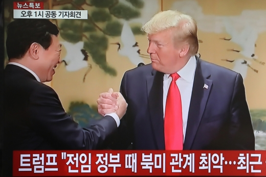 신동빈 회장과 손 잡은 트럼프 대통령. /사진=YTN 화면 캡처