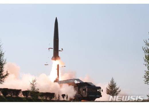 북한이 지난 5월9일 미사일 기지에서 발사한 신형단거리탄도미사일 발사 장면. /사진=뉴시스(북한 노동신문 캡처)