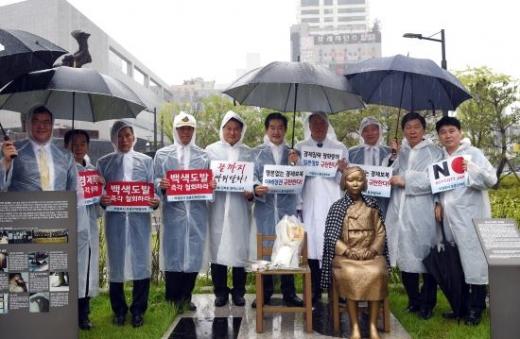 안병용 의정부시장은 광복절 경축식 후 일본 경제침략 규탄 결의대회도 참석했다. / 사진제공=의정부시
