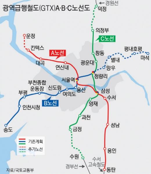 수도권광역급행철도(GTX) 노선도. / 자료제공=국토부