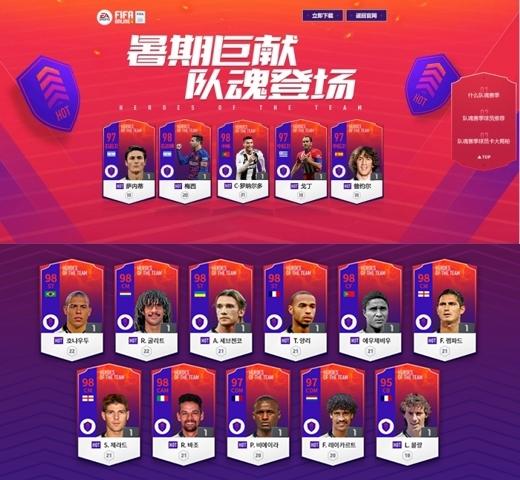 중국에 먼저 출시된 HOT시즌(위)과 한국 피파온라인4에 추가된 HOT클래스. /사진=피파온라인4 홈페이지