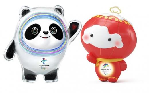 2022년 베이징 동계올림픽 마스코트인 '빙둔둔'(氷墩墩, 왼쪽)과 패럴림픽 마스코트 '쉐룽룽'(雪容融). /사진=베이징 동계올림픽 공식 트위터 계정