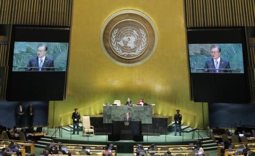 문재인 대통령이 지난 24일(현지시간) 미국 뉴욕에서 열린 유엔총회에 참석해 기조연설을 하고 있다. /사진=로이터