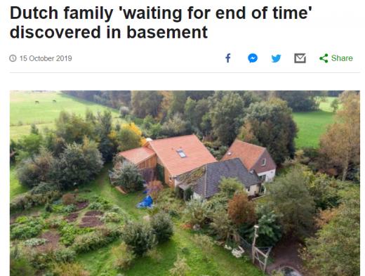 총 7명의 일가가 '지구 종말'을 피해 9년 동안 숨어 지내다가 발견된 네덜란드 북부 루이너워트의 한 농가. /사진=BBC 보도화면 캡처