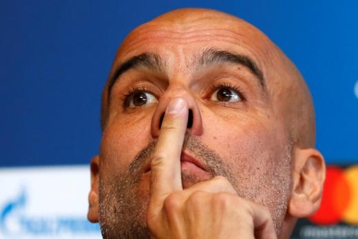 오는 23일(한국시간) 영국 맨체스터 에티하드 스타디움에서 2019-2020시즌 UEFA 챔피언스리그 C조 3차전 경기를 앞두고 기자회견에 나선 펩 과르디올라 맨시티 감독. /사진=로이터