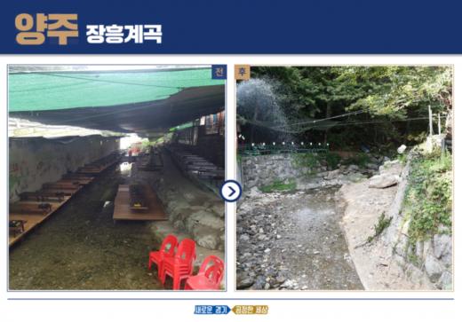 양주 장흥계곡의 원상복구 전(왼쪽), 후 모습.(사진=경기도)
