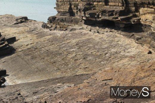 형체가 변형된 공룡발자국 화석. 멀찍이 떨어져 봐야 보인다. /사진=박정웅 기자
