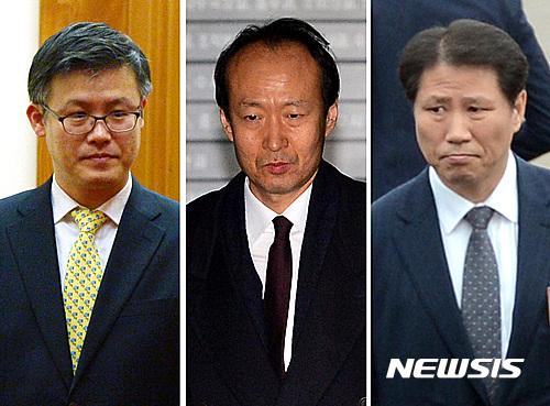 박근혜 대통령 최측근으로 활동해 문고리 3인방으로 불리던 정호성, 이재만, 안봉근 전 청와대 비서관(왼쪽부터). /사진=뉴시스