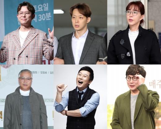 (왼쪽 위부터 시계방향으로) 토니안, 박유천, 슈, 탁재훈, 이수근, 이경영. /사진=뉴스1