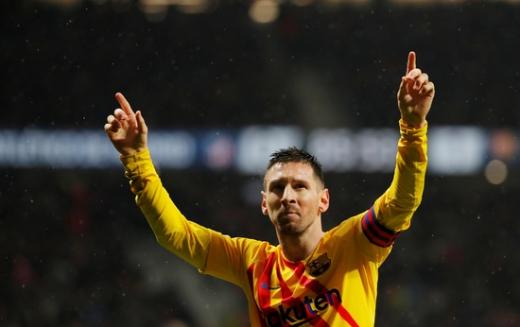 지난 2일 아틀레티코 마드리드전에서도 결승골을 터뜨리며 존재감을 발휘한 FC 바르셀로나의 리오넬 메시. /사진=로이터