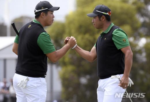 안병훈(왼쪽)과 마쓰야마(오른쪽)