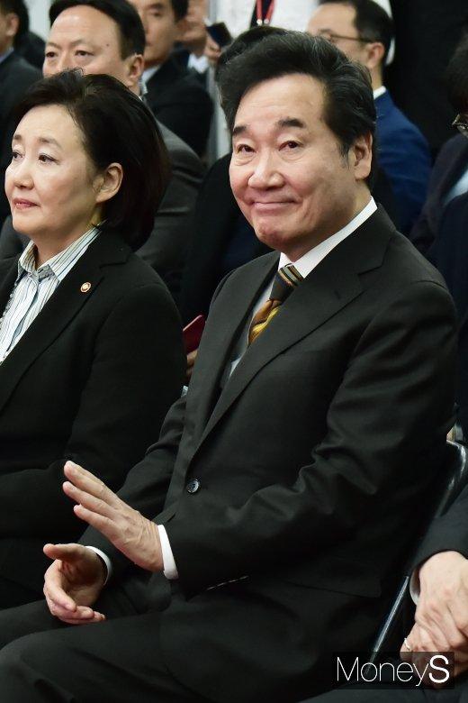 [머니S포토] 강소기업 100 출범식 참석한 이낙연 총리