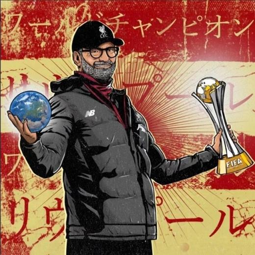 욱일기를 연상케 하는 리버풀의 클럽 월드컵 우승 포스터. /사진=리버풀 일본 트위터