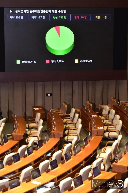 [머니S포토] 텅빈 자유한국당 의석, 공직선거법 수정안 국회 통과