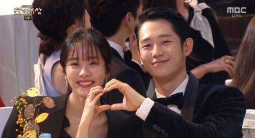 한지민 정해인. /사진=2019 MBC 연기대상 방송캡처