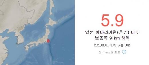 3일(현지시간) 일본 지바현 동쪽 태평양 해상에서 규모 5.9의 지진이 발생했다. /사진=기상청 제공