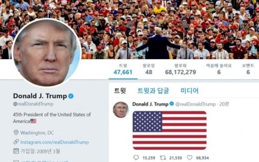 도널드 트럼프 미국 대통령은 3일 솔레이마니 사령관 사망 소식이 전해진 직후 트위터에 성조기 사진을 올렸다. /사진=도널드 트럼프 미국 대통령 트위터