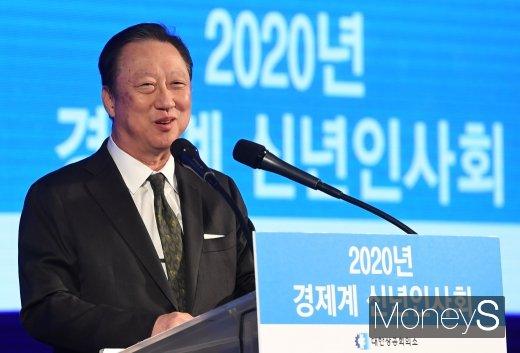 [머니S포토] 경제계 신년인사회에서 인사말하는 박용만 회장