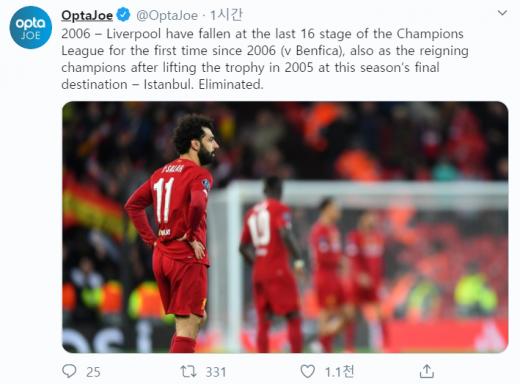리버풀의 챔피언스리그 16강 탈락 기록을 조명한 통계전문 매체 '옵타'의 트위터. /사진='옵타' 트위터 캡처