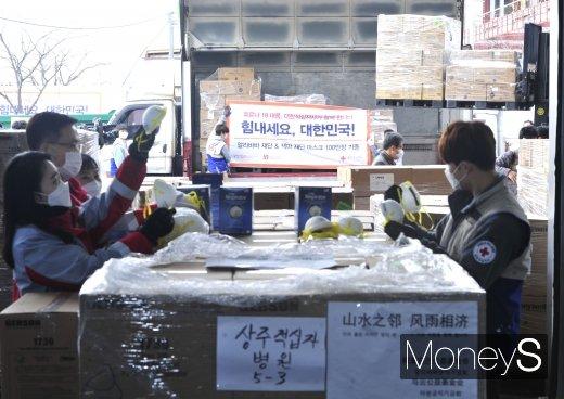 [머니S포토] 전국으로 향하는 마윈 기증 마스크