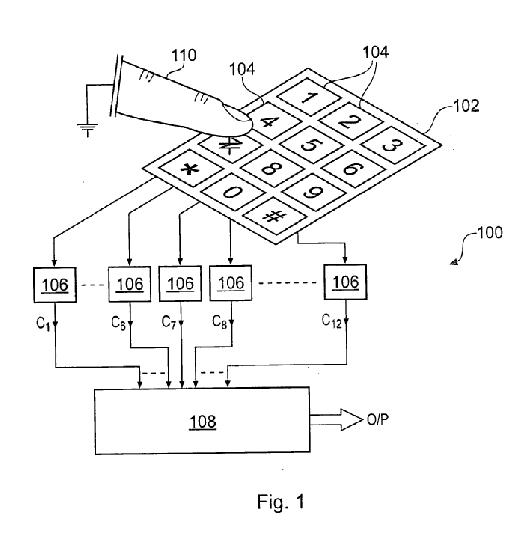 아일랜드 더블린에 본사를 둔 특허전문관리업체(NPE) '네오드론'이 삼성전자, LG전자, 애플 등으로부터 지적재산권을 침해당했다고 주장하는 '정전식 터치기술' 특허(특허번호 7903092)의 설명도. /사진=미국 특허청