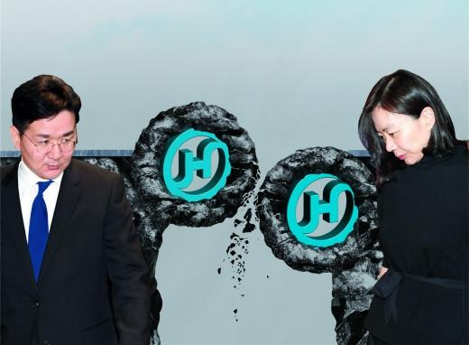 (왼쪽부터)조원태 한진그룹 회장, 조현아 전 대한항공 총괄부사장. /디자인=김은옥 기자