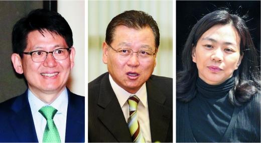 (왼쪽부터)강성부 KCGI 대표, 권홍사 반도건설 회장, 조현아 전 대한항공 부사장.