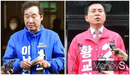 제21대 국회의원선거에서 서울 종로을에 출마한 이낙연 민주당 상임선거대책위원장(왼쪽)과 황교안 미래통합당 대표가 11일 공식 선거운동을 이어간다. /사진=임한별 기자