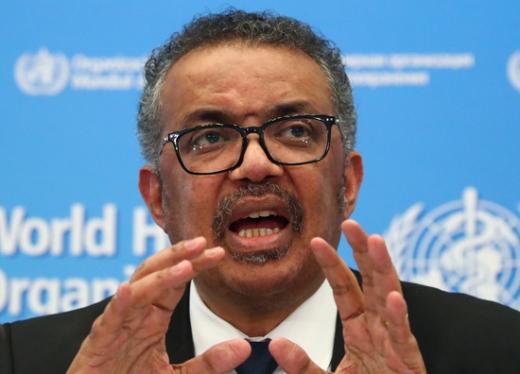 """테워드로스 아드하놈 거브러여수스 세계보건기구(WHO) 사무총장이 """"세계 각국이 신종 코로나바이러스 감염증(코로나19)에 대한 우리의 당부를 주의 깊게 들었어야 했다""""고 말했다. /사진=로이터"""