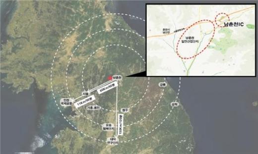 춘천시는 남산면 광판리 일대 121.2만㎡ 규모의 부지에 다목적 방사광가속기를 구축하고 '춘천 가속기 혁신도시'(Chuncheon Accel Polis)를 조성할 방침이다. /사진=춘천시청