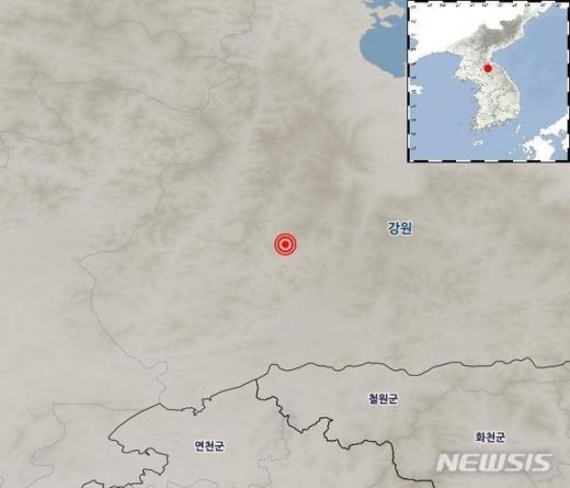 북한 강원 평강 북북서쪽 32㎞ 지역에서 11일 저녁 7시45분쯤 규모 3.8 지진이 발생했다. /사진=뉴시스(기상청)