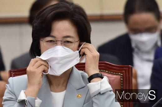 [머니S포토] 마스크 고쳐쓰는 추미애 법무 장관