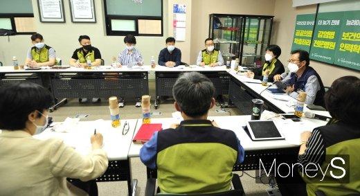[머니S포토] 김명환 위원장, 보건의료노동자 간담회 발언