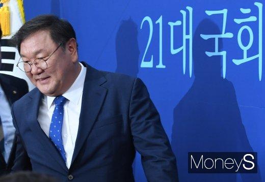[머니S포토] 정책조정회의 참석하는 김태년 원내대표