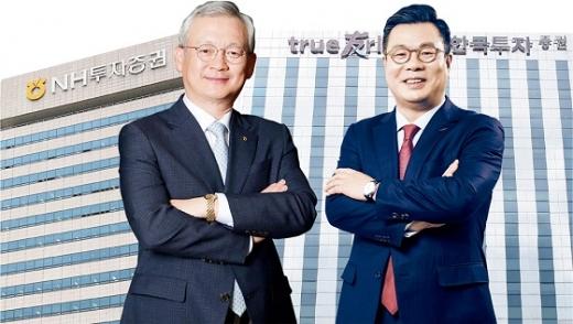 정영채 NH투자증권 사장(왼쪽)과 정일문 한국투자증권 사장(오른쪽).©각사