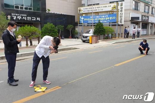 '경주 스쿨존 사고'의 상황 재현과 추가 현장검증이 9일 오후 진행됐다. /사진=뉴스1