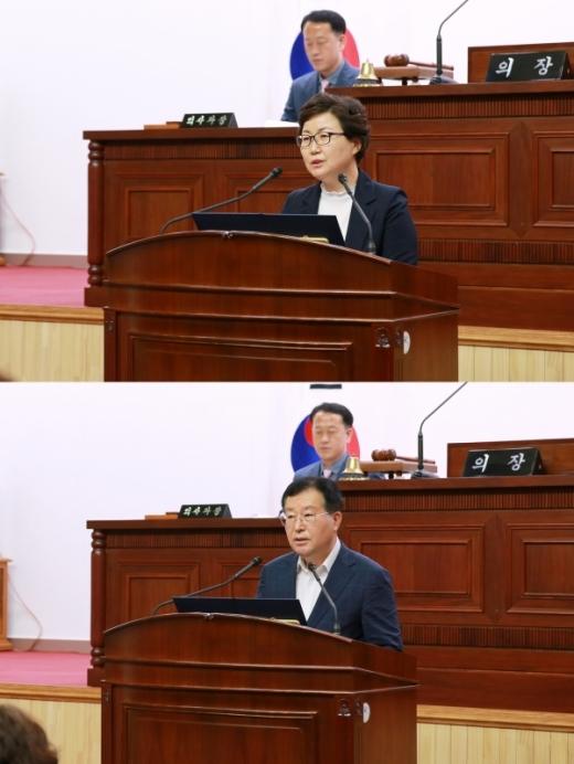 군포시의회는 25일 제247회 임시회에서 제8대 의회 후반기 의장단 선거를 실시해 의장에 성복임 의원, 부의장에 장경민 의원을 각각 선출했다. / 사진제공=군포시의회