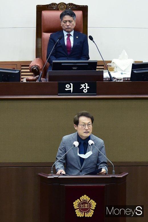 [머니S포토] 서울시교육비 추경안 관련 발언하는 조희연 교육감