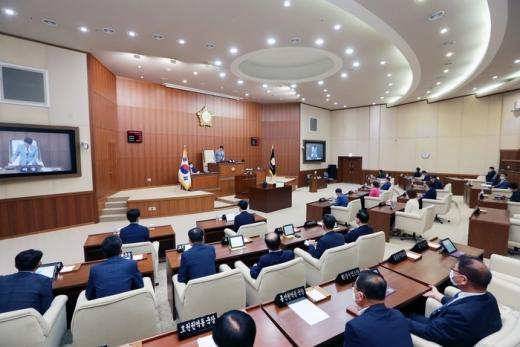 의정부시의회 안지찬 의장 제289회 제1차 정례회 폐회선언 모습. / 사진제공=의정부시의회