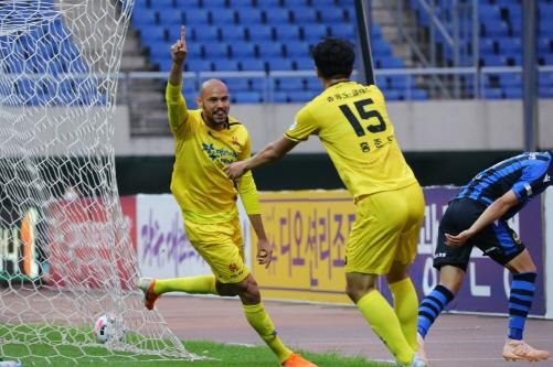 지난 6월17일 k리그1 7라운드 인천전 광주FC 펠리페 득점 세리머니/사진=광주FC 제공