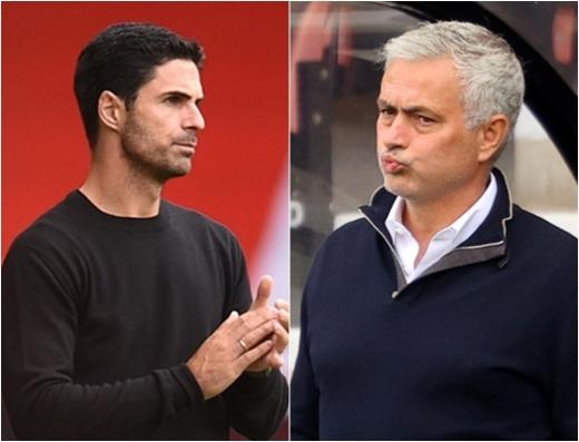 미켈 아르테타 아스날 감독(왼쪽)과 조세 무리뉴 토트넘 감독은 모두 이번 시즌 중반 팀 지휘봉을 잡았다. /사진=로이터