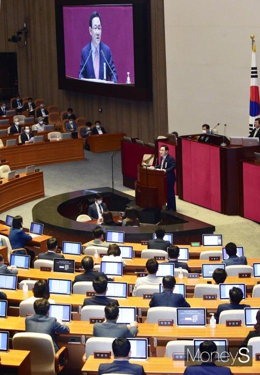"""[머니S포토] 주호영, """"문재인 정부, 도덕적 파탄 난 전체주의 정권"""""""