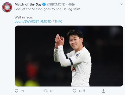 영국 'BBC'의 축구 분석 프로그램 '매치 오브 더 데이'가 손흥민의 번리전 골을 '올해의 골'로 선정했다. /사진=트위터 캡처