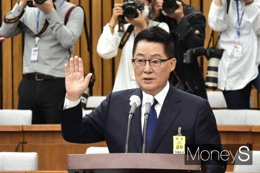 """[머니S포토] 박지원, """"개인사 내곡동 뜰에 묻고… 대한민국 앞길만 바라 볼 것"""""""