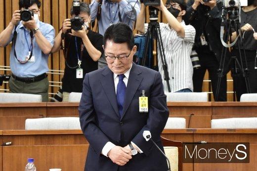 [머니S포토] 박지원 후보자, 국정원 무명 순직자관련 묵념