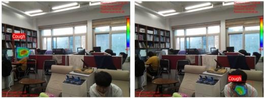 박용화 한국과학기술원(KAIST) 기계공학과 교수 연구팀은 에스엠인스트루먼트와 공동으로 '기침 인식 카메라'를 개발했다고 3일 밝혔다. 사진은 연구실 환경에서 기침 인식 카메라의 기침 발생 위치표시. /사진=KAIST